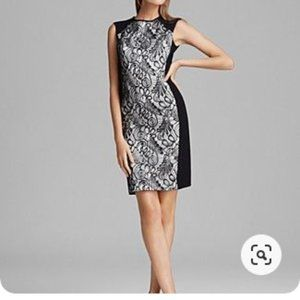 NWOT Trina TurkVeda Lace-Front Dress Black & White